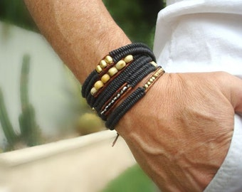 Men's Wrap Bracelet with Solid Brass Beads from Africa