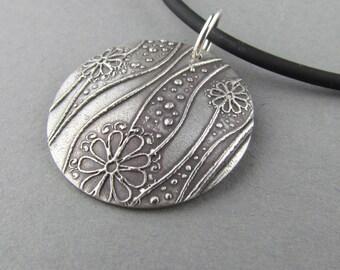 "Silver Flower Modern Art Deco Necklace Floral 18"" Black Rubber Cord Domed Pendant"