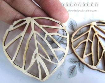 50x50mm Pretty Nature Leaf Wooden Charm/Pendant MH041 11