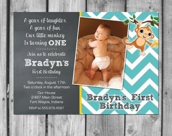 Little Monkey Birthday Party Invitations