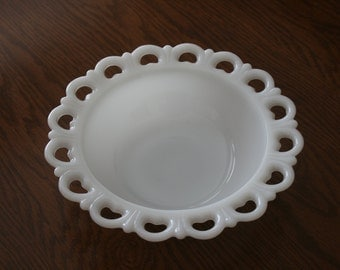 Vintage White Milk Glass Large Serving Bowl Lace Scalloped Edge Cottage Romantic Chic Mid Century