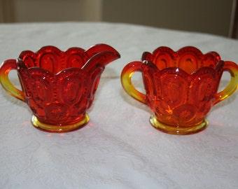 Vintage L. E. Smith Amberina Glass Red Orange Yellow Sugar Creamer Moon and Stars Pattern