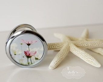 "Photo Mirror Compact- ""Cosmos"", Pink and White Cosmo Flower Field,  3"" Double Sided Mirror- Silver Plated Engravable Gift Item"