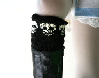 Halloween Skull Boot Cuffs - Boot Tops - Knitting Black Boot Socks  - Fall Winter Fashion - Teens Women Accessories