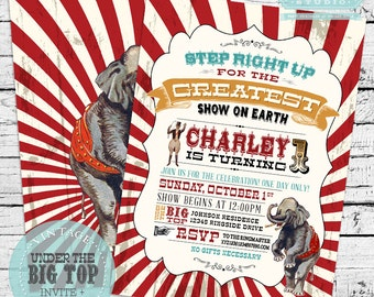 Vintage Circus Invitation, Vintage Carnival Invitation, Circus Invite, Carnival Invite