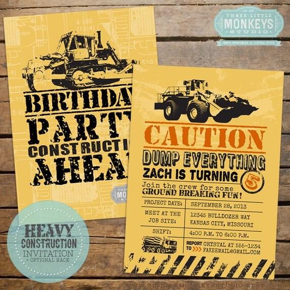 Construction Birthday Party Invitation By 3LittleMonkeysStudio