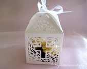 70 boxes Holy Cross White Favor Boxes for Christening Favors, Baptism Party, First Communion Celebration, via PRIORITY MAIL U.S. only