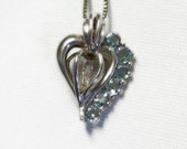 Blue Topaz Heart Necklace - Caged Heart - Solid Sterling Silver - Genuine Blue Topaz Gems - Vintage
