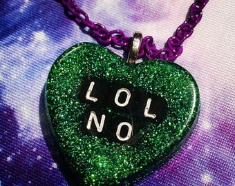 Lol No Resin Heart Necklace