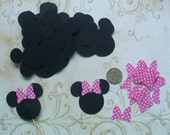 Minnie Mouse Head Shapes Pink Polka Dot Bow Die Cut pieces for crafts Cupcake Picks DIY Kids Crafts Birthday Party etc.
