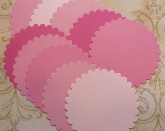 10 pc Large Scallop Circles Die Cuts cut from Pinks Cardstock 4 DIY Birthday Baby Girl Banners Tags Crafts Labels