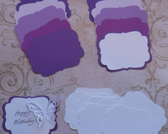 2 size Die cut Shapes for Layering Purple Passion colors Cardstock for Wedding Tags Place card Label Brackets