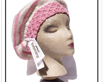 Pink & Natural Stripe Hand-Knit BERET HAT w/Smocked Knit Band Accented w/Faux Pearls - Sz Medium