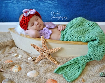 Crochet Mermaid, photo prop 3 piece set size 0 to 3 mos - an adorable baby shower gift, made to order