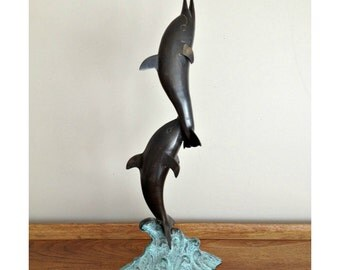 Bronze Dolphin Sculpture Leaping on a Wave