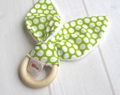 Natural Wooden Teething Ring Soother ORGANIC Dottie Cream Grass & Unbleached Bamboo Terry....an eco friendly gift idea from Cwtch Bugs