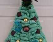 Turquoise Metallic Peacock Mesh Door/Wall Lighted Christmas Tree Wreath