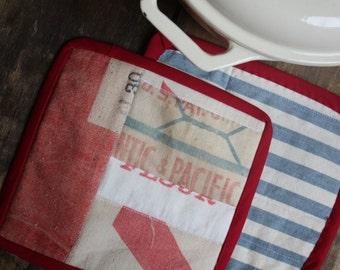 "Pot Holder, ""Atlantic & Pacific"", Vintage Flour Sack Scraps , Red, Blue, White, Ticking, Feed Sack, Flour Sack, Hot Pad"