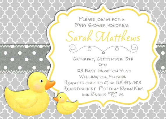 modern rubber duck baby shower invitation trefoil yellow gray, Baby shower