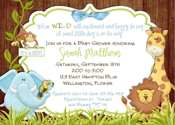 rustic jungle baby shower invitation baby boy lion giraffe, Baby shower invitations