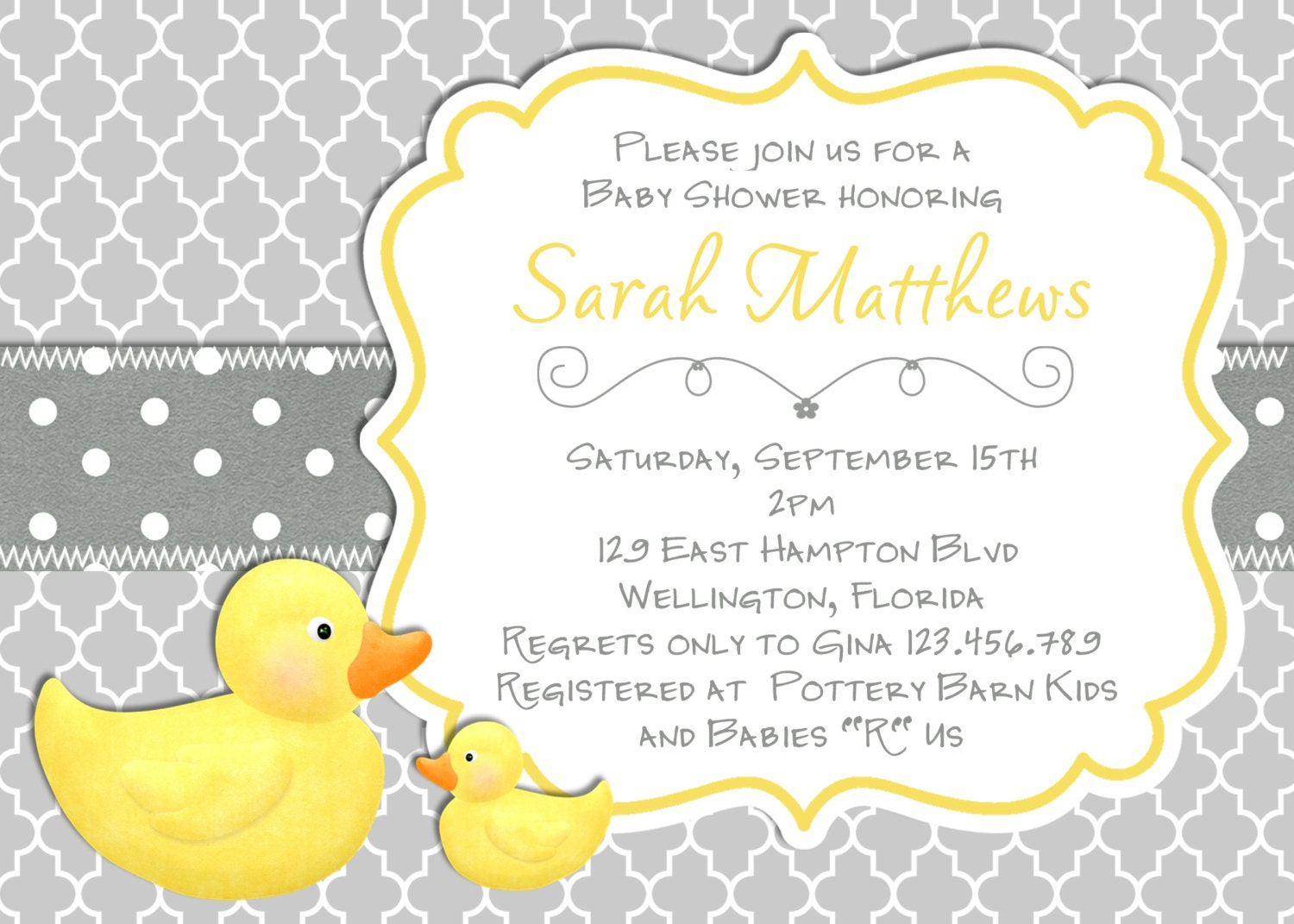Baby Shower Images Yellow ~ Modern rubber duck baby shower invitation trefoil yellow gray