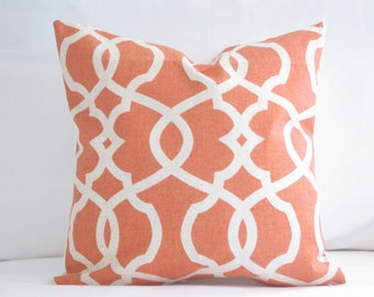 decorative pillow, pillow cover, orange pillows, trellis pillows, orange 18 in pillow, orange accent pillow, pillow for couch, bed pillows