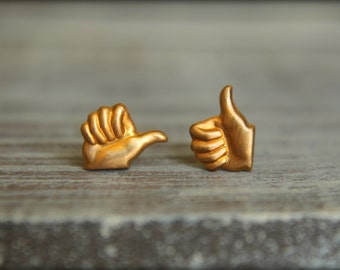 Thumbs Up Studs in Raw Brass, Stainless Steel Posts