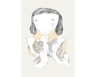 Print by Depeapa - Bird girl illustration - 8 x 11.5 - A4