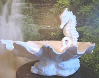 Lovely, Sea Horse Scene, Seahorse and Sea Shell, Seahorse Fountain, Ocean Scene,Beach decor, u-paint, Ceramic bisque, Ready to paint