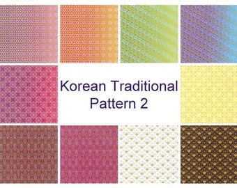 Korean Traditional Patterns, Plain Colors II- Double Sided Origami Paper- 20 Sheets