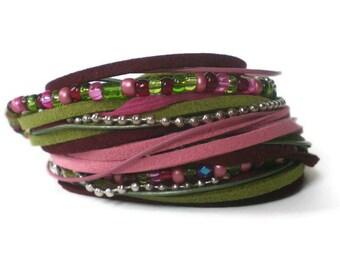pink green boho wrap bracelet, suede leather chain wrap, ribbon wrap, multistrand wraparound cuff, rocker wrap, triple wrap bracelet