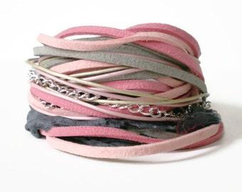 bohemian leather wrap bracelet, ribbon wrap, suede wrap bracelet, pink grey ribbon wrap, rocker cuff, triple wrap bracelet, gift for her