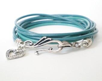 teal leather wrap, personalized leather charm bracelet, boho chic cuff, rocker style, stacking bracelet