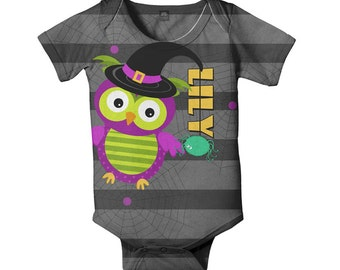 Halloween Baby Bodysuit, Personalized Owl and Spider One-Piece Outfit, Costume