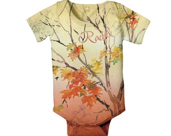 Fall Leaves  Baby Bodysuit, Personalized Girl's Baby One-Piece