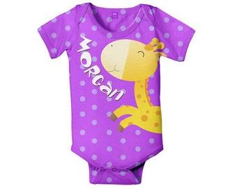 Giraffe Baby Bodysuit, Personalized Infant Shirt, Baby Clothing