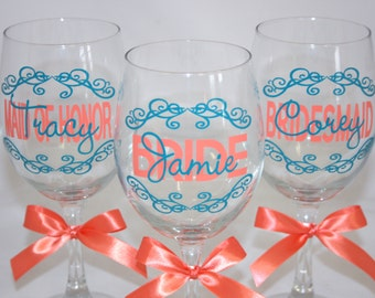 7 Personalized Bride and Bridesmaids Wine Glasses
