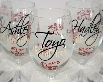 5 Monogrammed Bride and Bridesmaids Wine Glasses