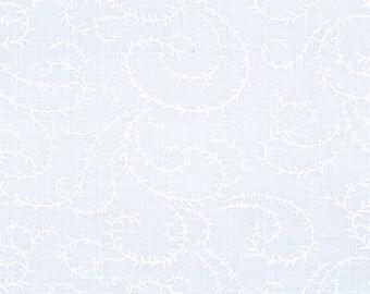 Swirl Vine Muslin Mates Fabric - 9933-11 - White on White Tonal - 1 yard