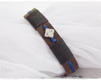 Leather Men's Bracelet , Celtic Leather Bracelet, Men's Leather Wristband, Surfer Leather Bracelet, Leather Jewelry For Men, Nordic Bracelet