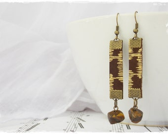 Gold Tribal Earrings, Tiger Eye Earrings, Long Leather Earrings, Boho Rock Earrings, Tribe Leather Earrings, Bohemian Geometric Earrings