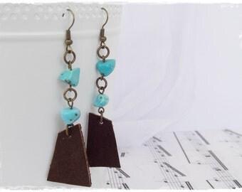 Tribal Talisman Earrings, Brass Turquoise Earrings, Arrow Leather Earrings, Bohemian Earrings, Long Chain Earrings, Boho Leather Jewelry