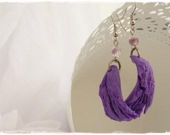 Elven Earrings, Fairy Wings Earrings, Purple Moon Earring, Polymer Clay Earrings, Lilac Dangle Earring, Fantasy Clay Earring - One Of A Kind