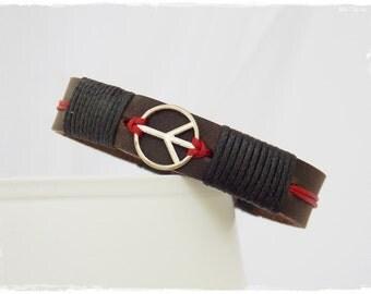Men's Leather Bracelet, Leather Peace Bracelet, Pax Charm Bracelet Cuff, Peace Symbol Leather Bracelet, Men's Leather Cuff, Leather Jewelry