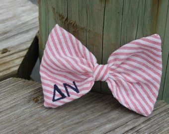 Greek Letters Bow Tie Style Seersucker Hair Bow