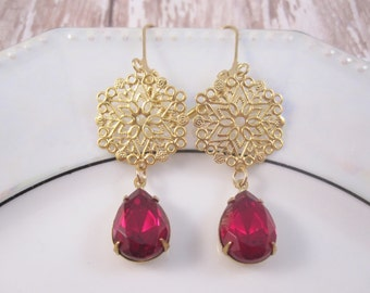Ruby red and gold statement earrings - red jewels and gold filigree on leverbacks