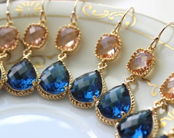 15% OFF SET OF 6 Wedding Jewelry Bridesmaid Earrings Jewelry Champagne Blush Earrings Sapphire Navy Blue Gold Teardrop Bridal Earrings