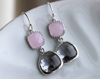 Charcoal Gray Earrings Pink Earrings Silver - Bridesmaid Earrings - Wedding Earrings - Bridesmaid Jewelry Gift - Wedding Jewelry