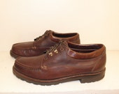 Sz 10.5 COLE HAAN Vintage Brown Leather Lace Up Casual Dress Shoes MEN Made in Brazil