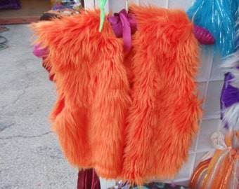 Orange furry  hand stitched short vest